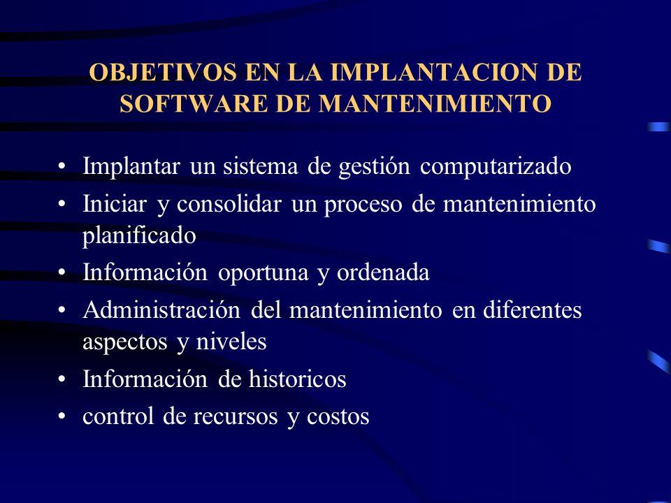 OBJETIVOS EN LA IMPLANTACION DE SOFTWARE DE MANTENIMIENTO