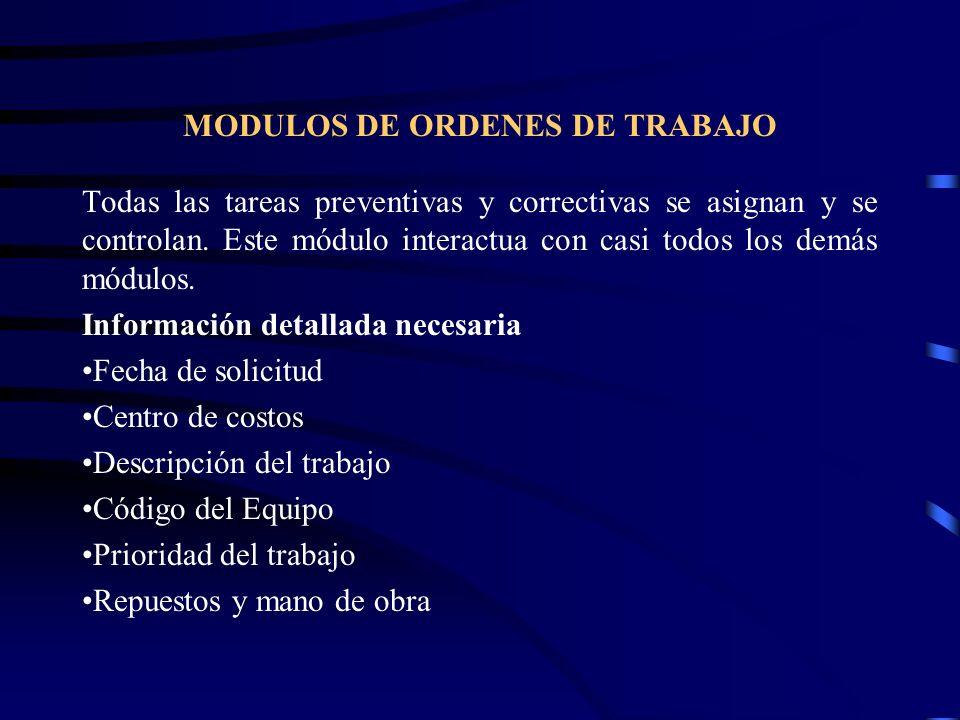 MODULOS DE ORDENES DE TRABAJO
