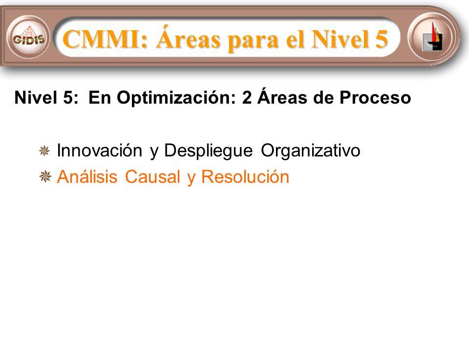 CMMI: Áreas para el Nivel 5