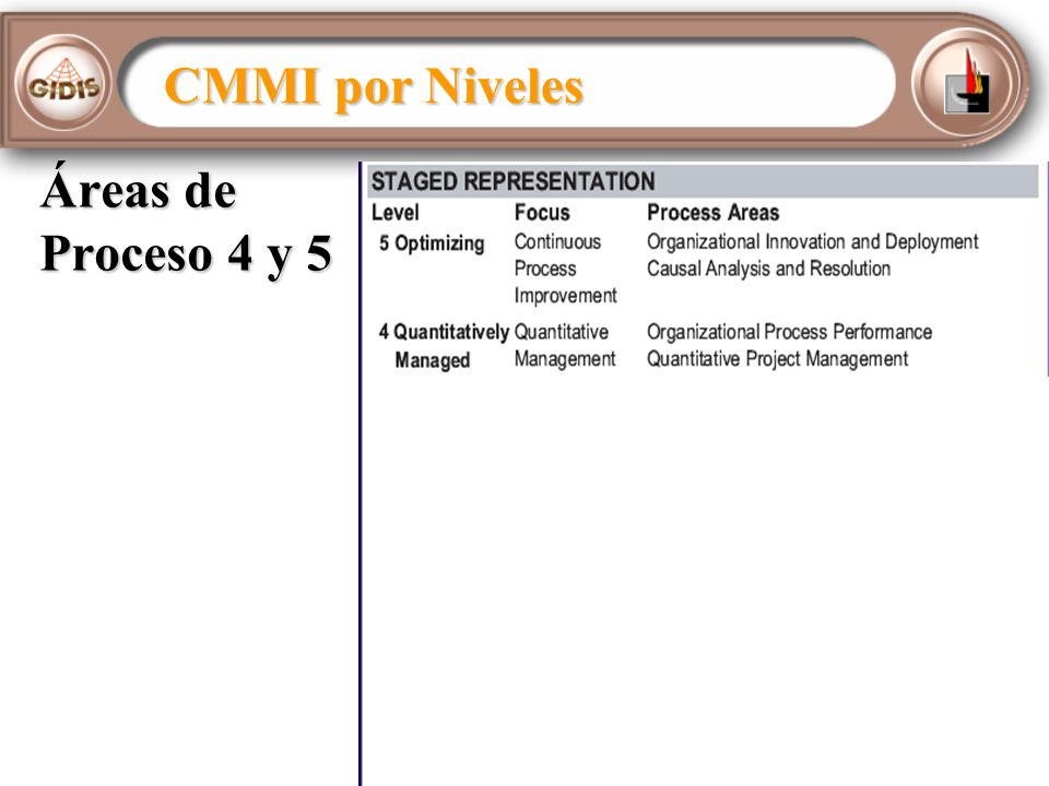 CMMI por Niveles Áreas de Proceso 4 y 5