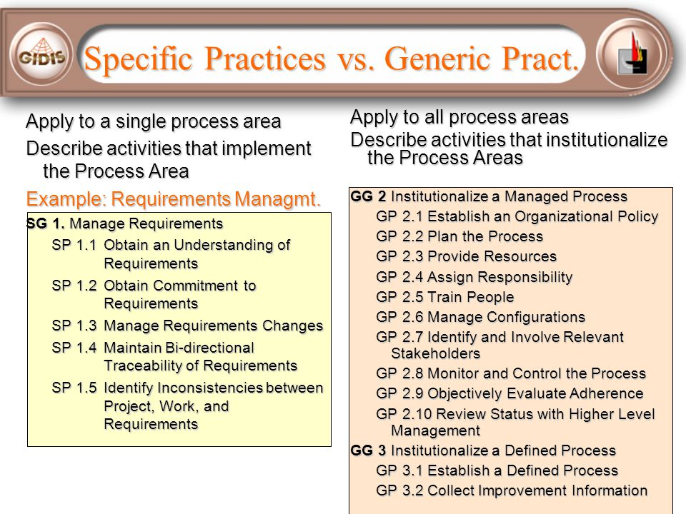 Specific Practices vs. Generic Pract.