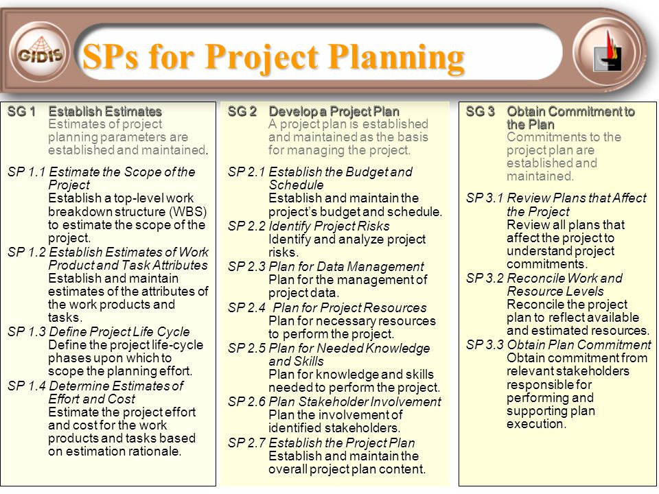 SPs for Project Planning