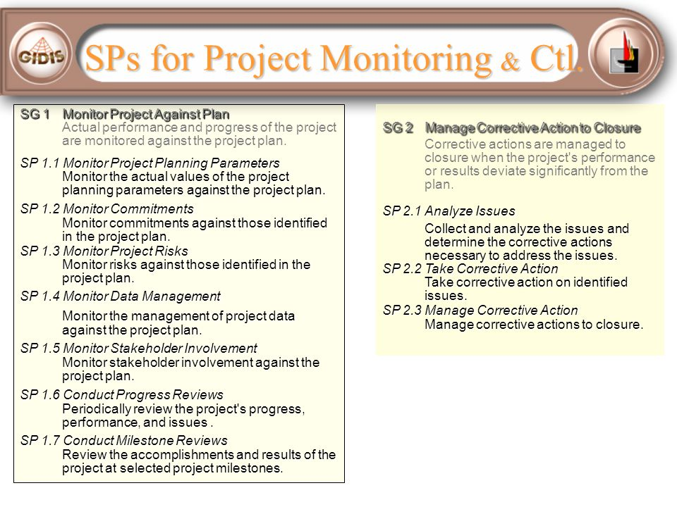 SPs for Project Monitoring & Ctl.