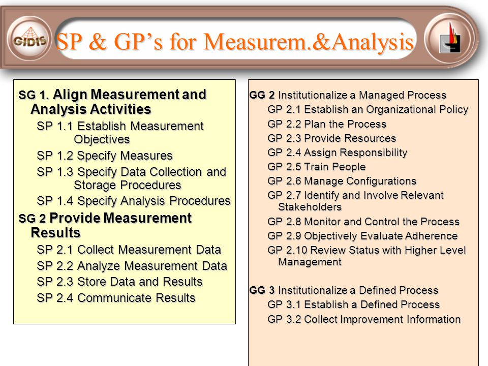 SP & GP's for Measurem.&Analysis