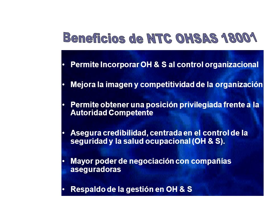 Beneficios de NTC OHSAS 18001