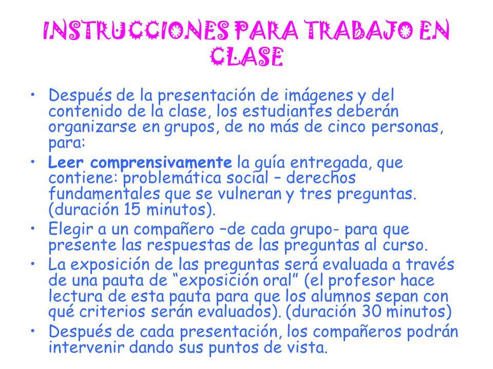 INSTRUCCIONES PARA TRABAJO EN CLASE