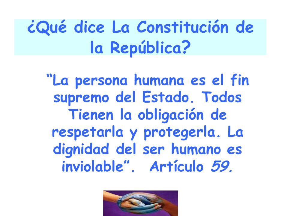 ¿Qué dice La Constitución de la República