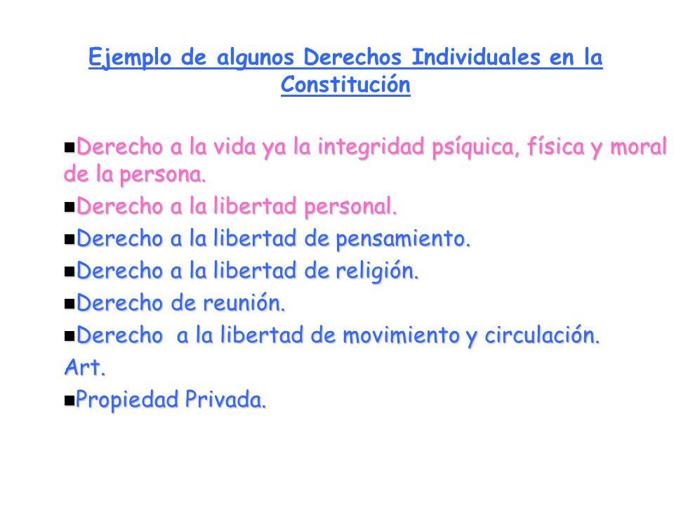 Ejemplo de algunos Derechos Individuales en la Constitución