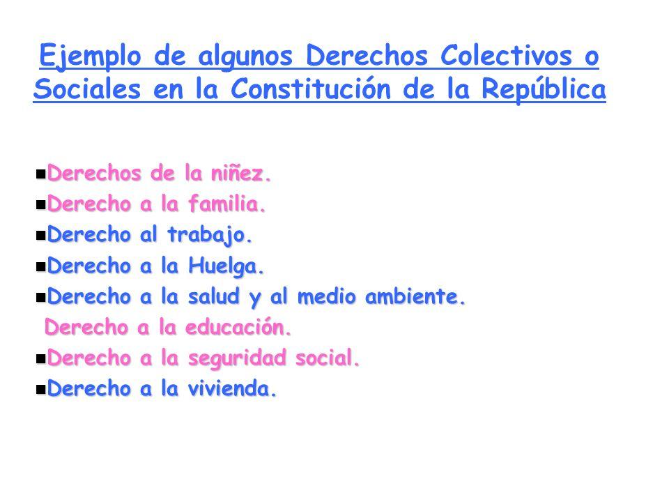 Ejemplo de algunos Derechos Colectivos o Sociales en la Constitución de la República