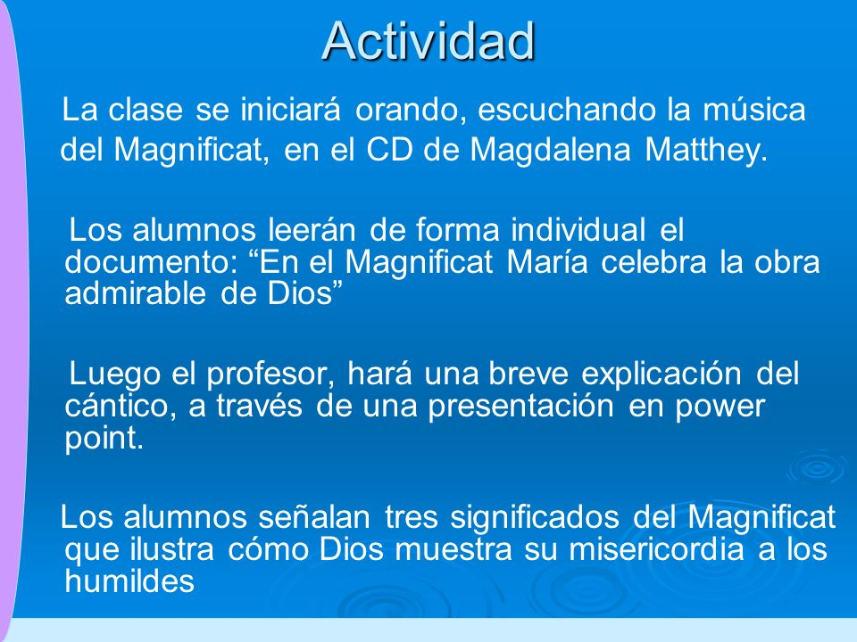 Actividad del Magnificat, en el CD de Magdalena Matthey.