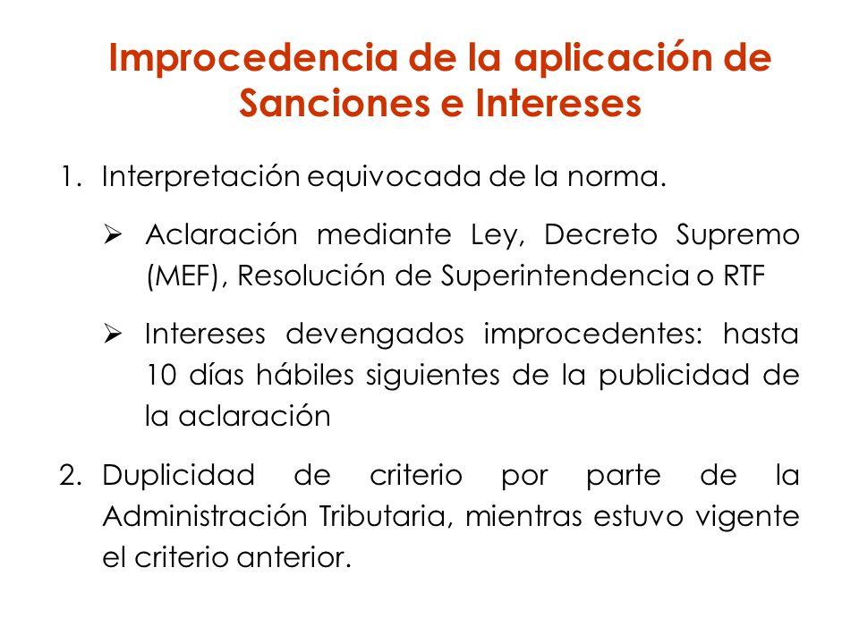 Improcedencia de la aplicación de Sanciones e Intereses