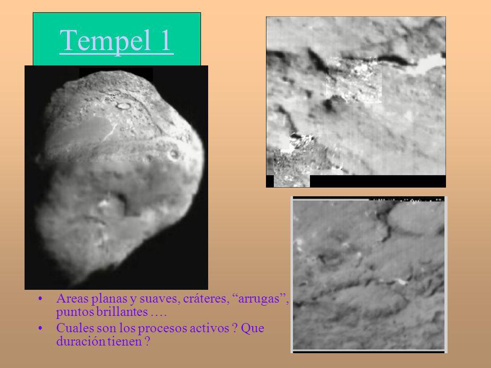 Tempel 1 Areas planas y suaves, cráteres, arrugas , puntos brillantes ….