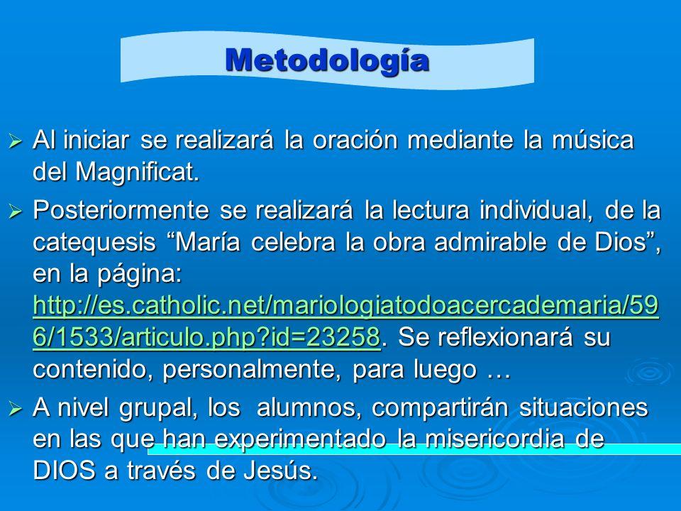 Metodología Al iniciar se realizará la oración mediante la música del Magnificat.