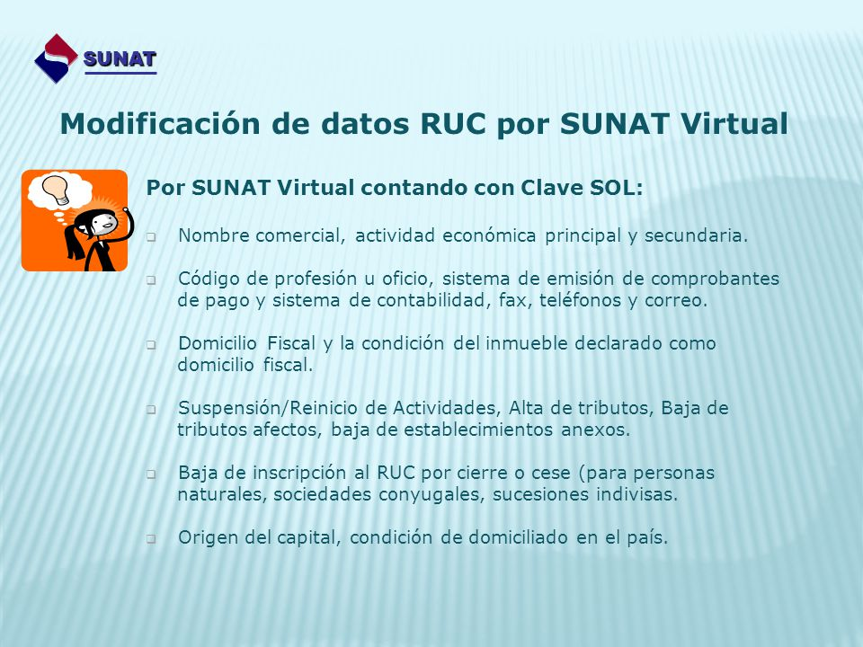 Modificación de datos RUC por SUNAT Virtual