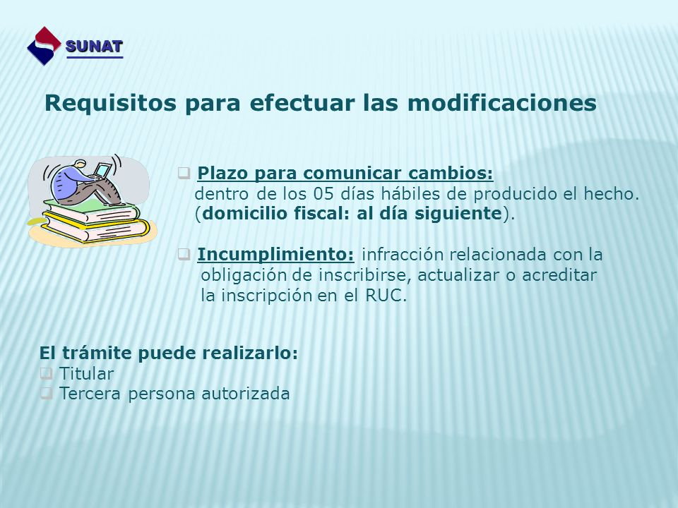 Requisitos para efectuar las modificaciones