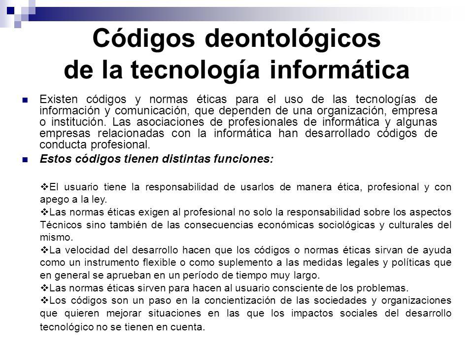 Códigos deontológicos de la tecnología informática