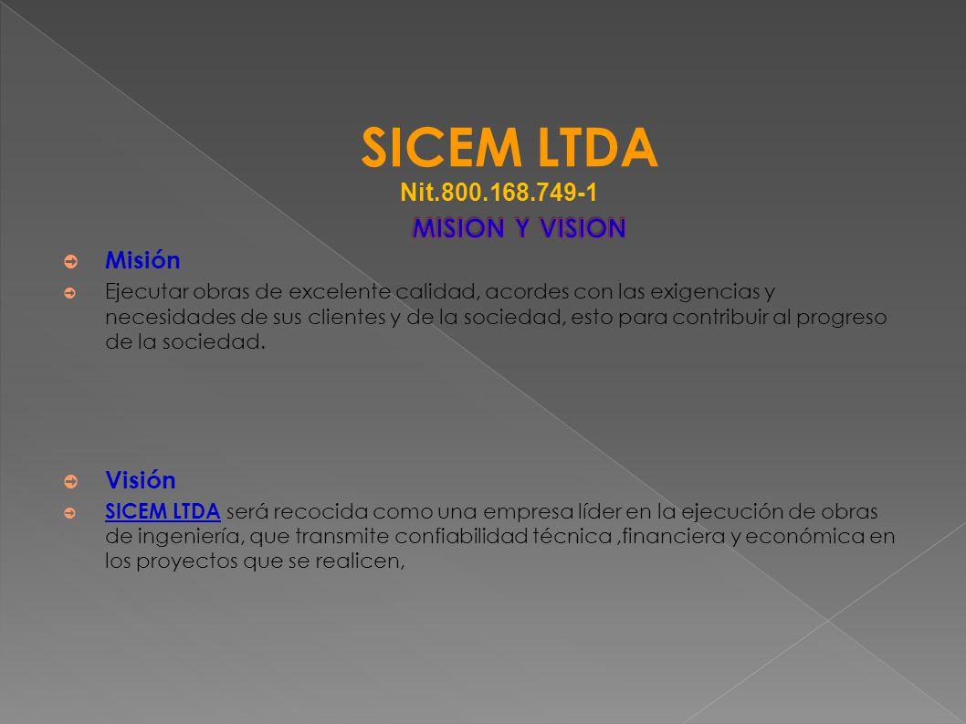 SICEM LTDA Nit.800.168.749-1 Misión Visión