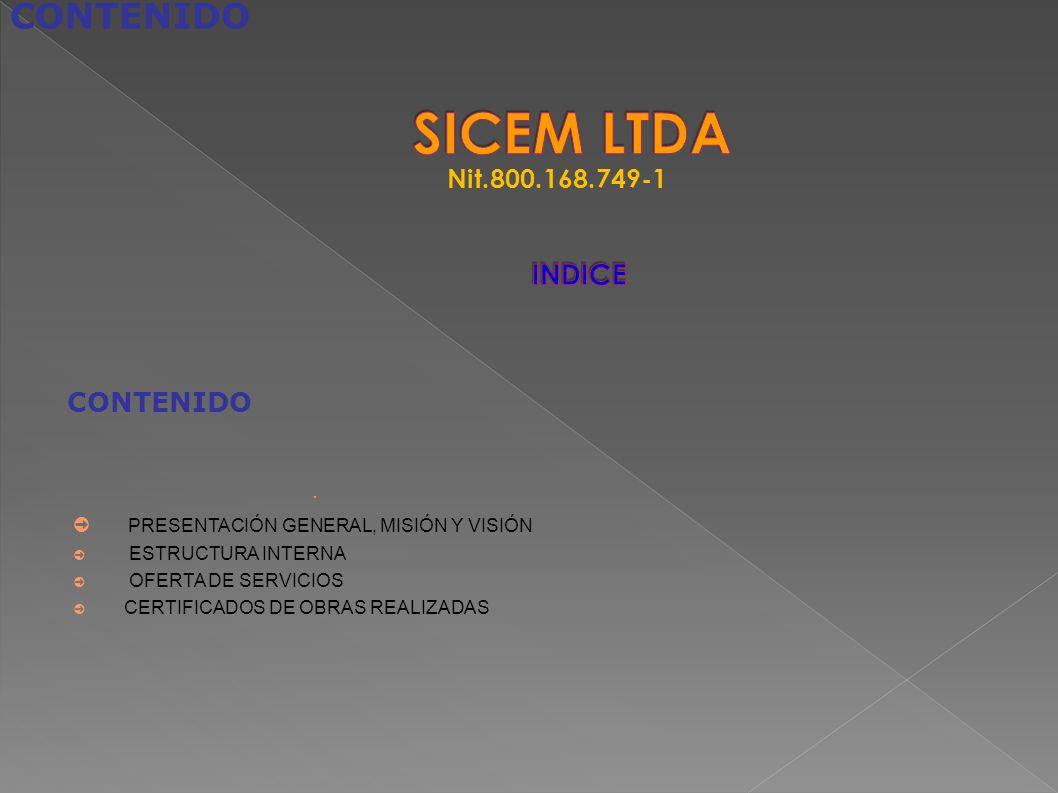 SICEM LTDA INDICE CONTENIDO Nit.800.168.749-1 CONTENIDO
