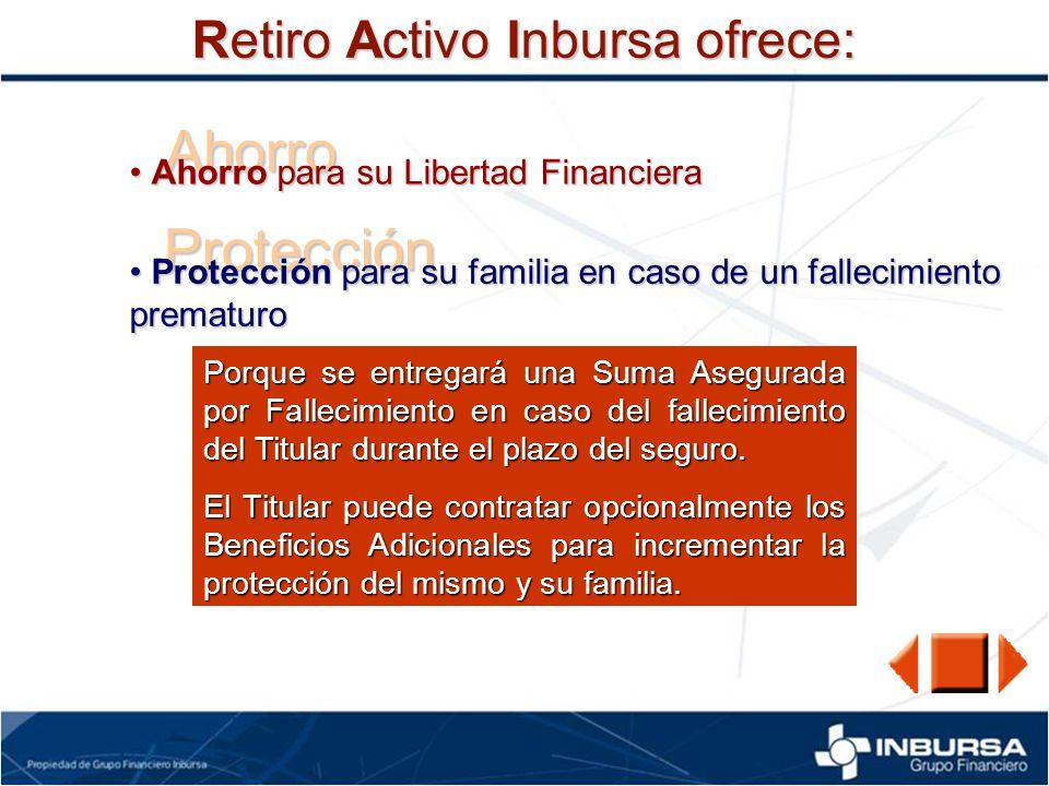 Ahorro Protección Retiro Activo Inbursa ofrece:
