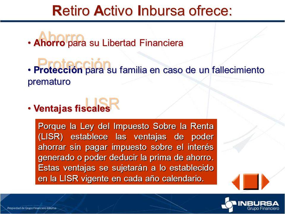 Ahorro Protección LISR Retiro Activo Inbursa ofrece:
