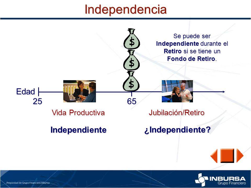 Independencia Edad 25 65 Independiente ¿Independiente Vida Productiva