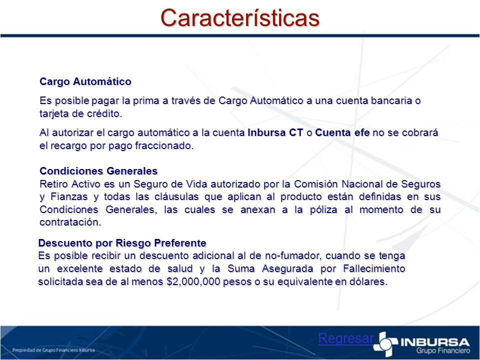 Características Regresar Cargo Automático