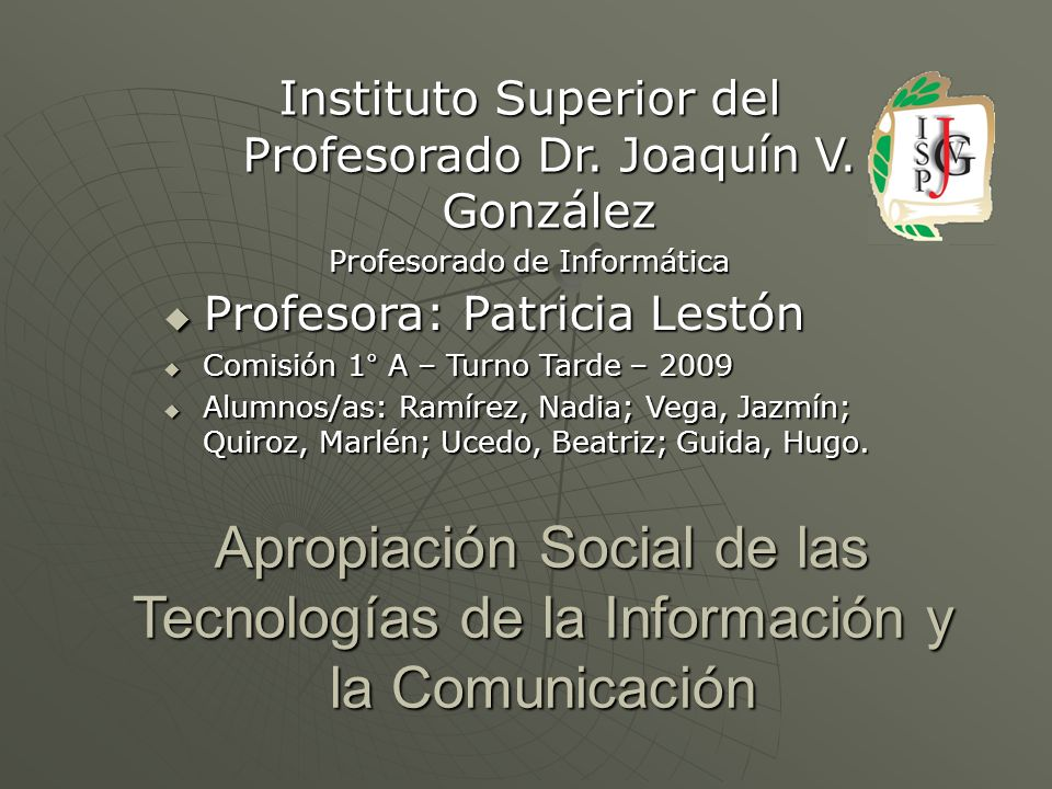 Instituto Superior del Profesorado Dr. Joaquín V. González
