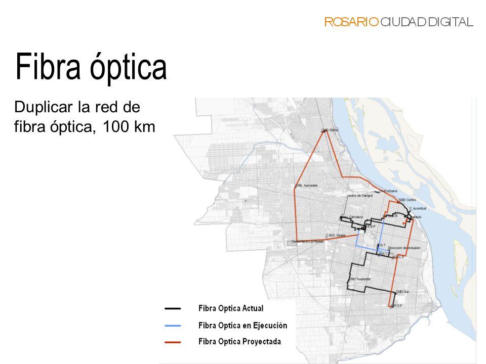 Fibra óptica Duplicar la red de fibra óptica, 100 km