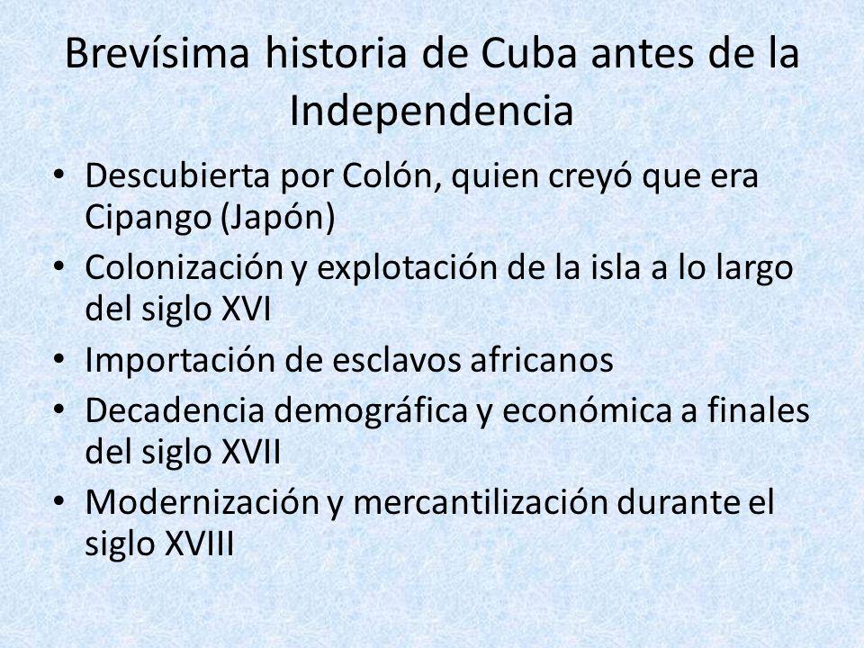 Brevísima historia de Cuba antes de la Independencia