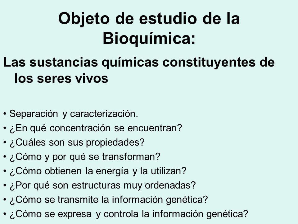 Objeto de estudio de la Bioquímica: