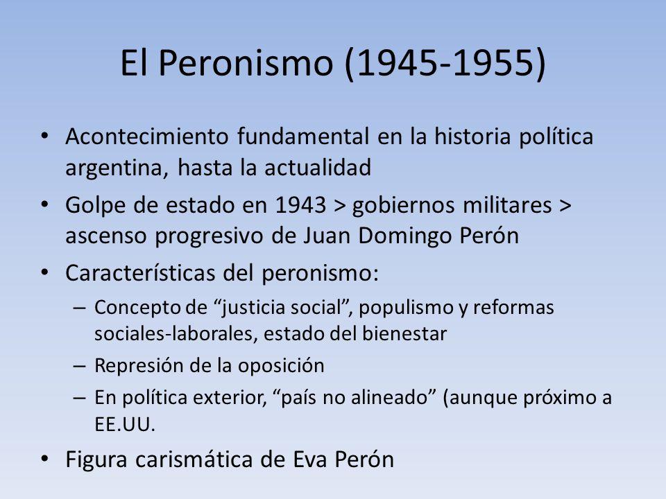 El Peronismo (1945-1955) Acontecimiento fundamental en la historia política argentina, hasta la actualidad.