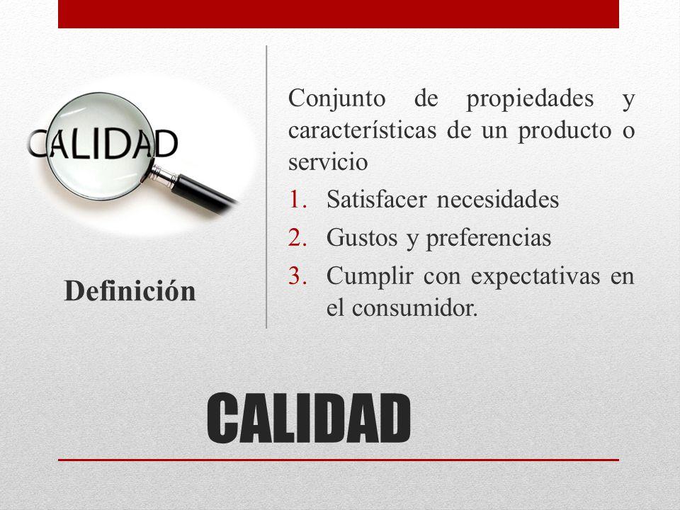 Conjunto de propiedades y características de un producto o servicio