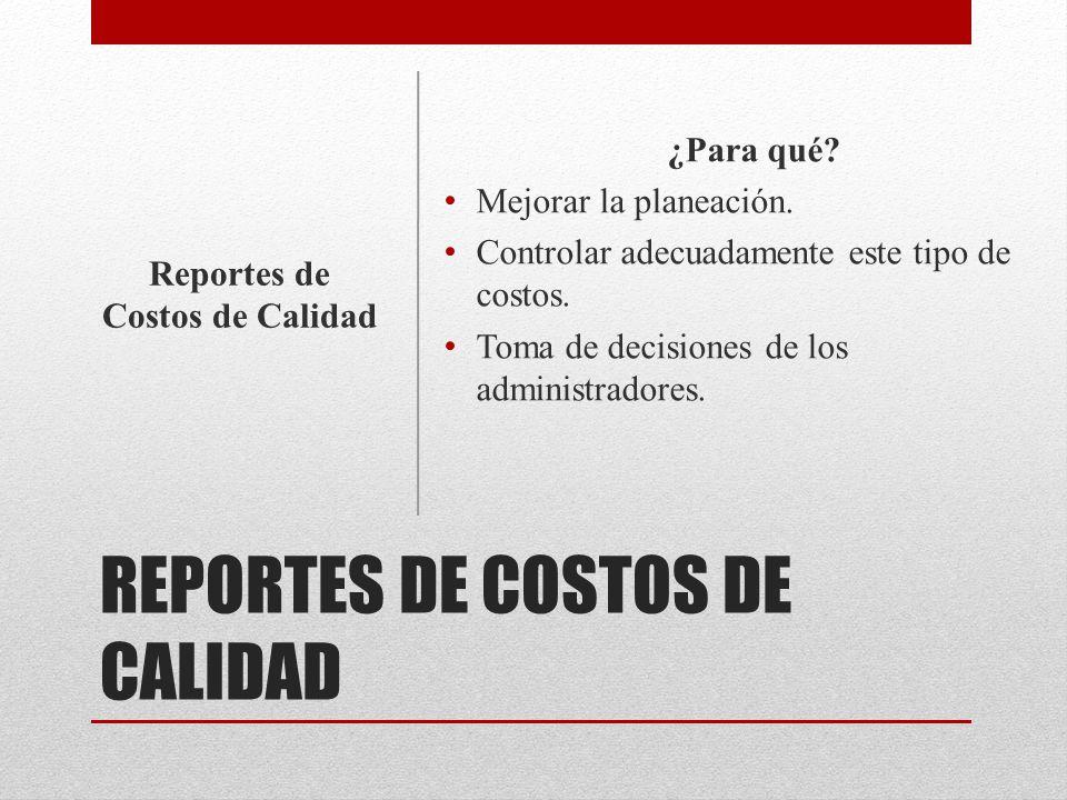 REPORTES DE COSTOS DE CALIDAD