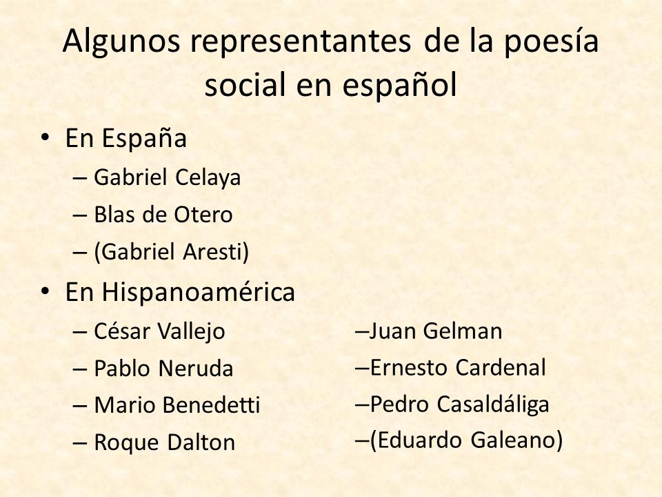 Algunos representantes de la poesía social en español