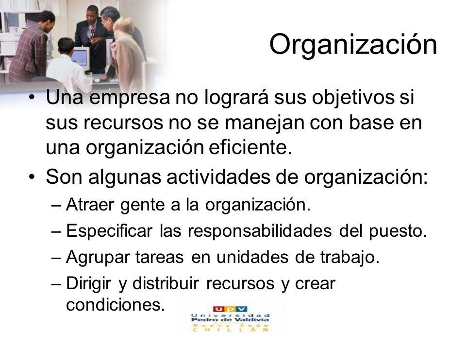 Organización Una empresa no logrará sus objetivos si sus recursos no se manejan con base en una organización eficiente.