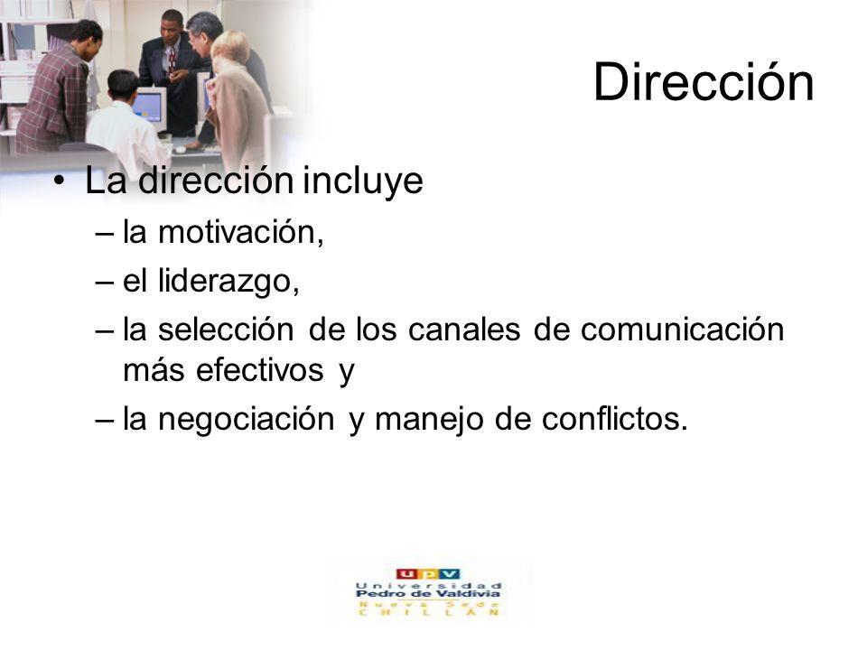 Dirección La dirección incluye la motivación, el liderazgo,