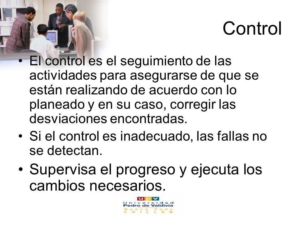 Control Supervisa el progreso y ejecuta los cambios necesarios.