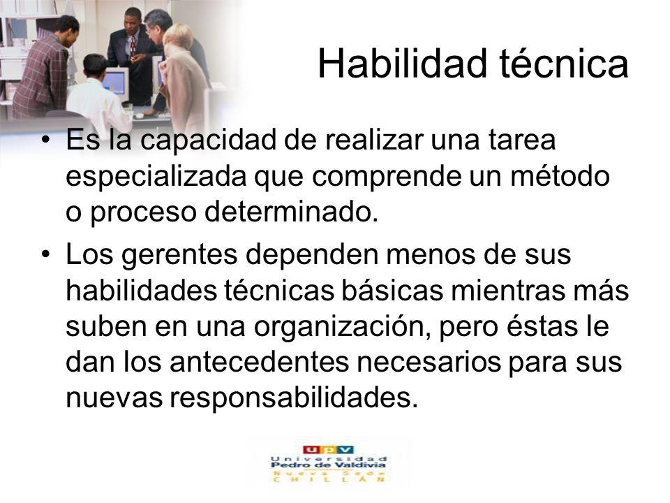 Habilidad técnica Es la capacidad de realizar una tarea especializada que comprende un método o proceso determinado.