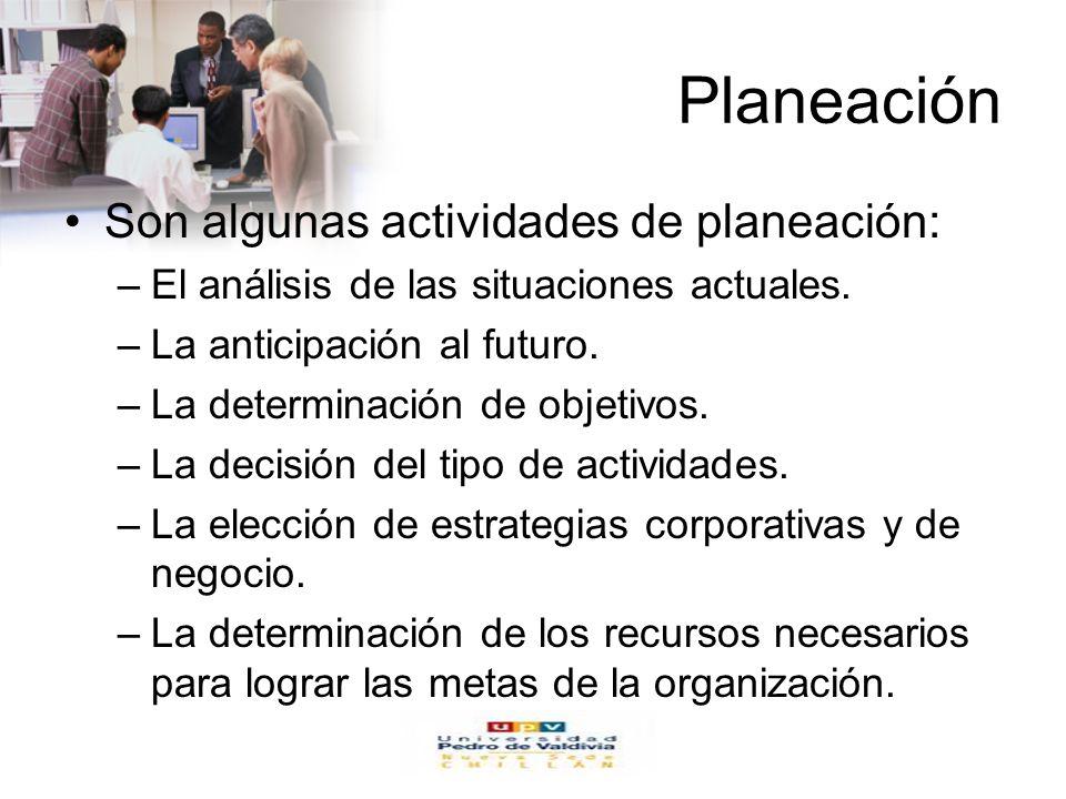 Planeación Son algunas actividades de planeación: