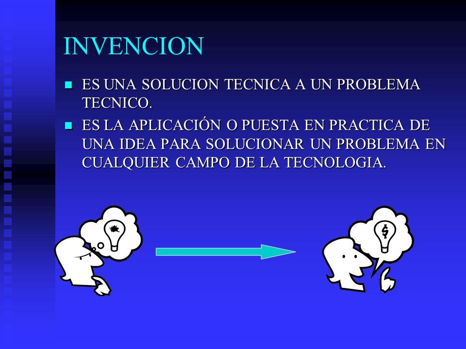 INVENCION ES UNA SOLUCION TECNICA A UN PROBLEMA TECNICO.
