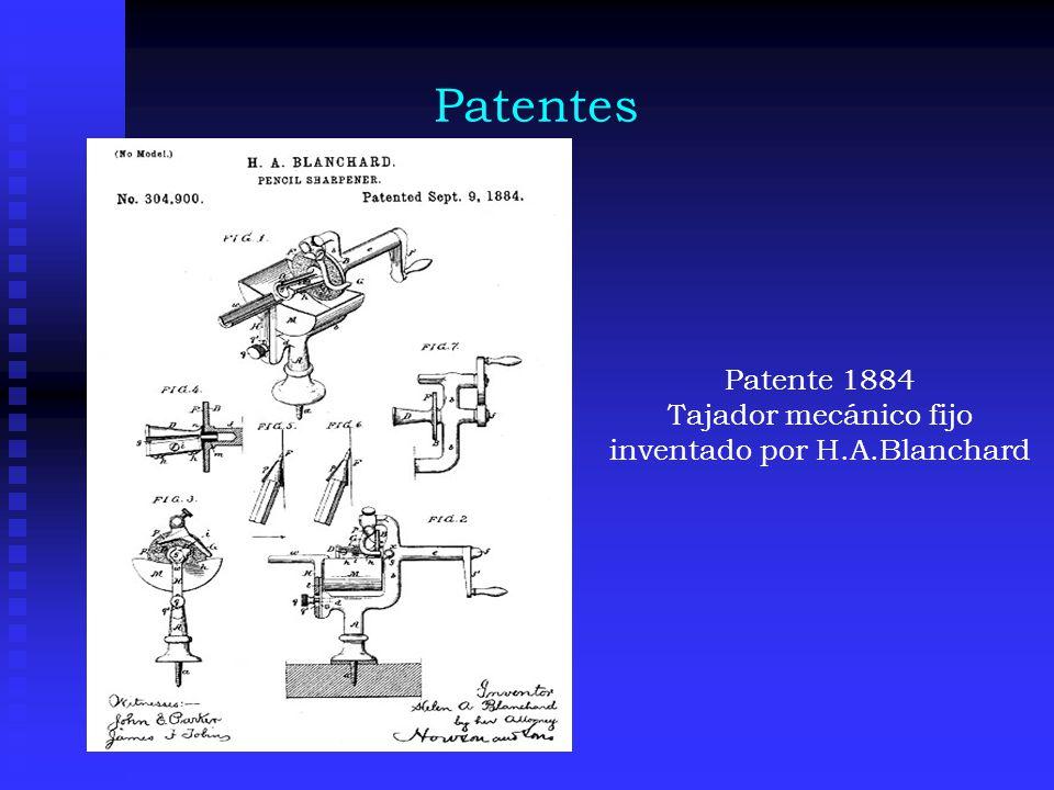 Tajador mecánico fijo inventado por H.A.Blanchard