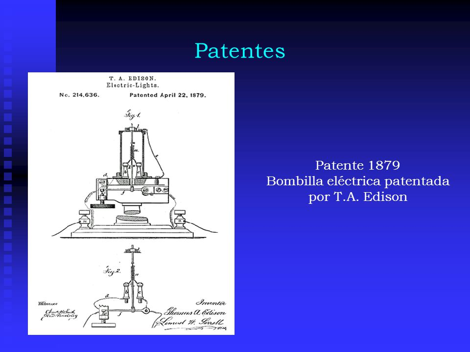 Bombilla eléctrica patentada por T.A. Edison
