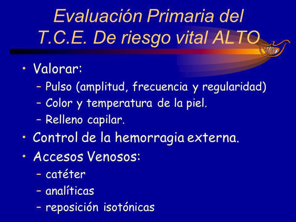 Evaluación Primaria del T.C.E. De riesgo vital ALTO
