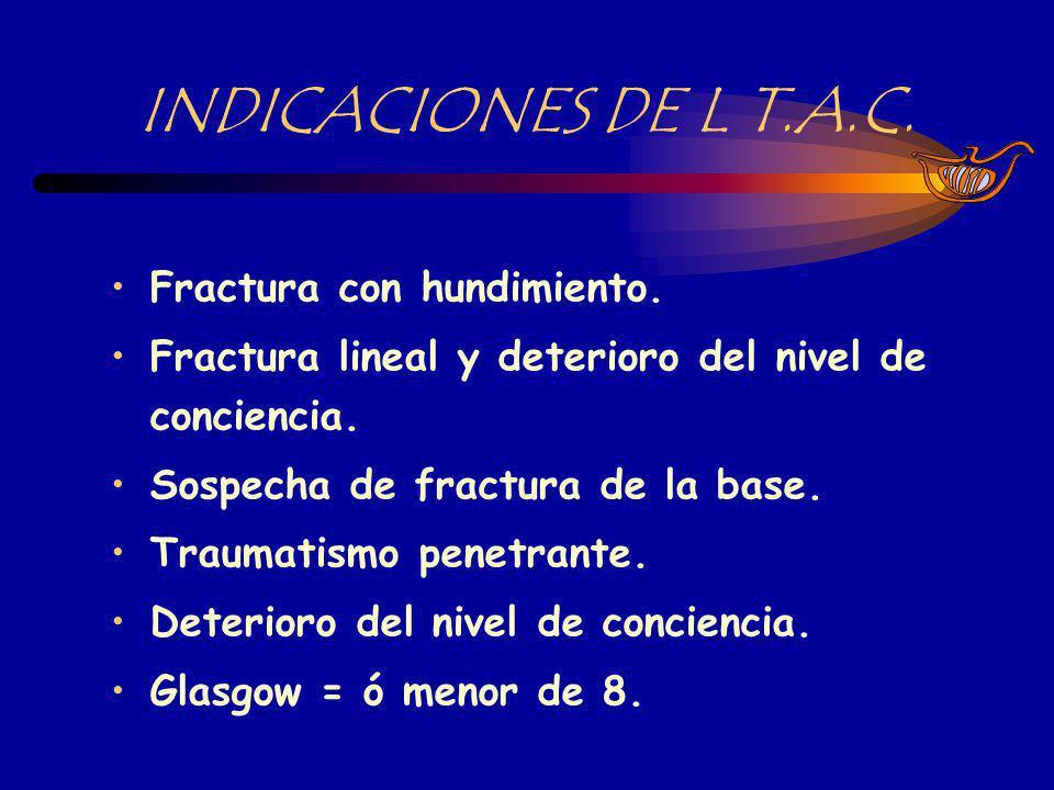 INDICACIONES DE L T.A.C. Fractura con hundimiento.