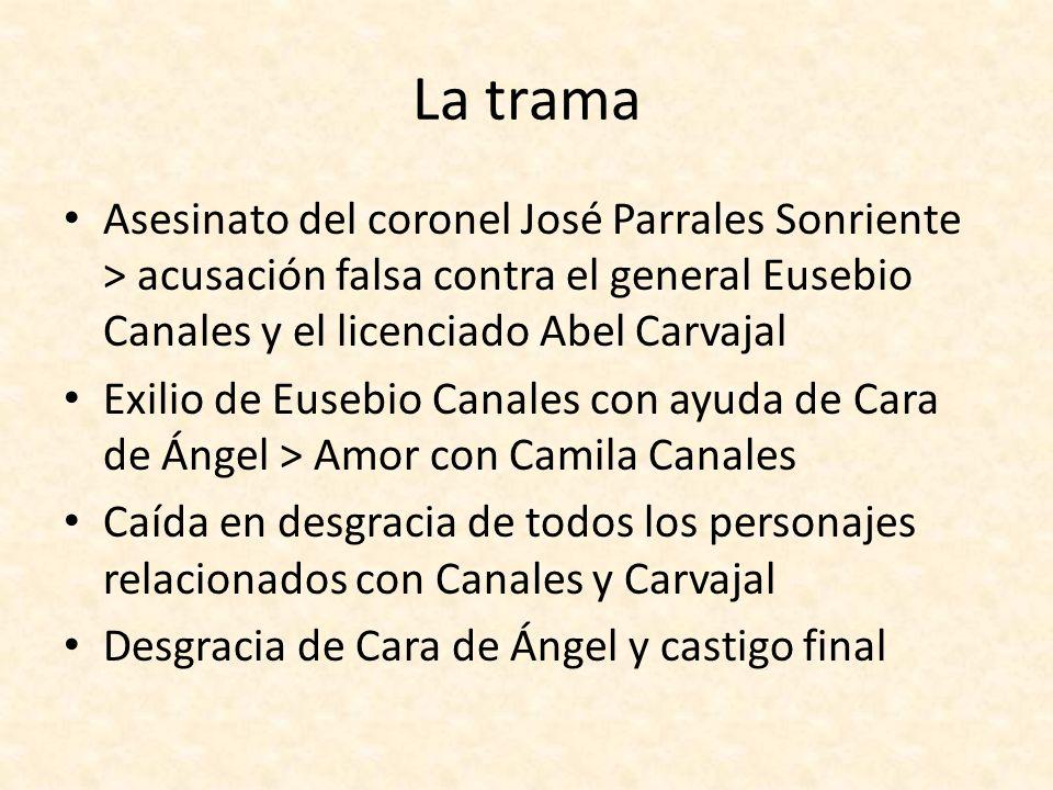 La trama Asesinato del coronel José Parrales Sonriente > acusación falsa contra el general Eusebio Canales y el licenciado Abel Carvajal.