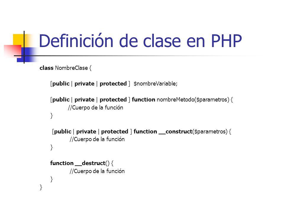 Definición de clase en PHP