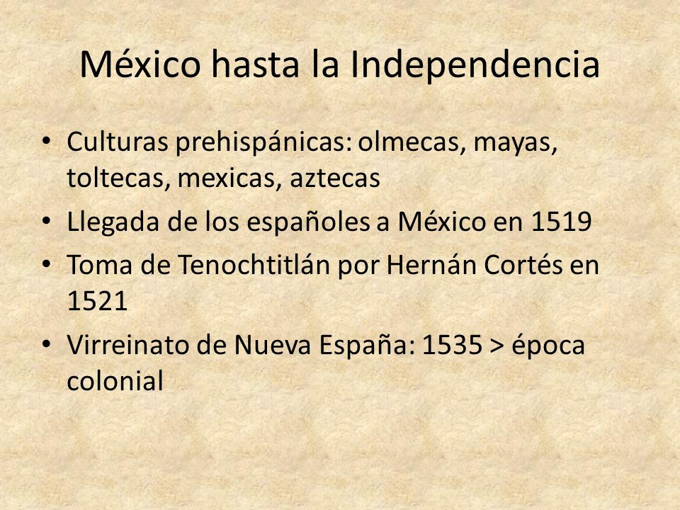 México hasta la Independencia