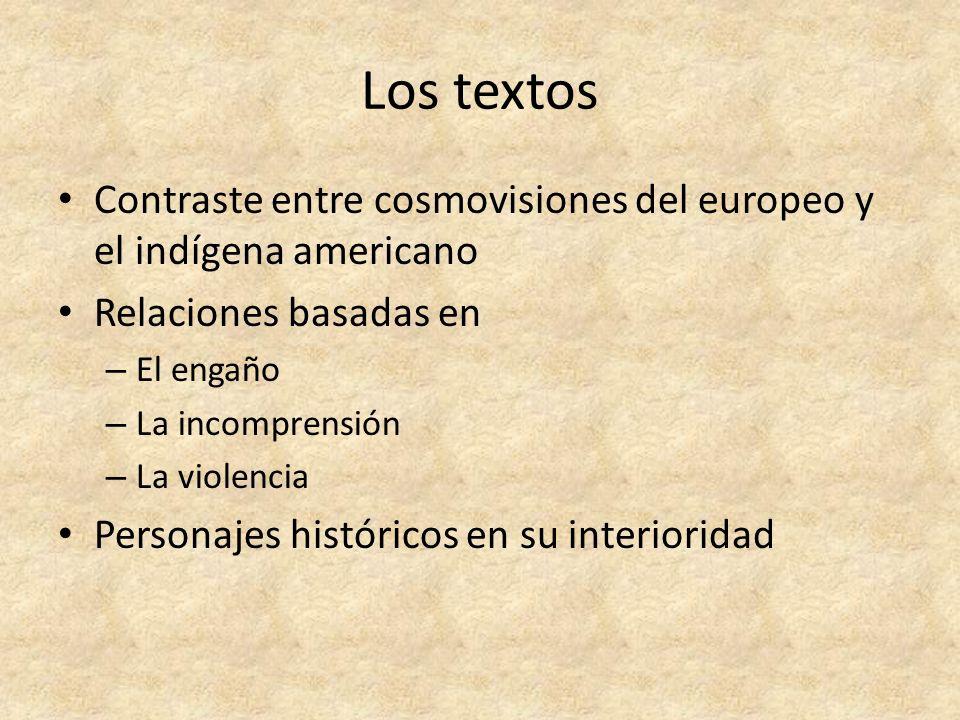 Los textos Contraste entre cosmovisiones del europeo y el indígena americano. Relaciones basadas en.