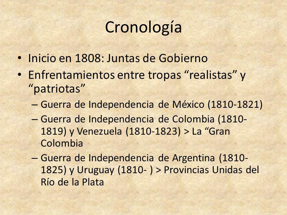 Cronología Inicio en 1808: Juntas de Gobierno