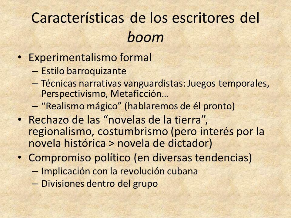 Características de los escritores del boom